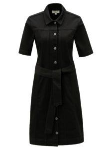 Čierne košeľové šaty s opaskom Selected Femme Cat