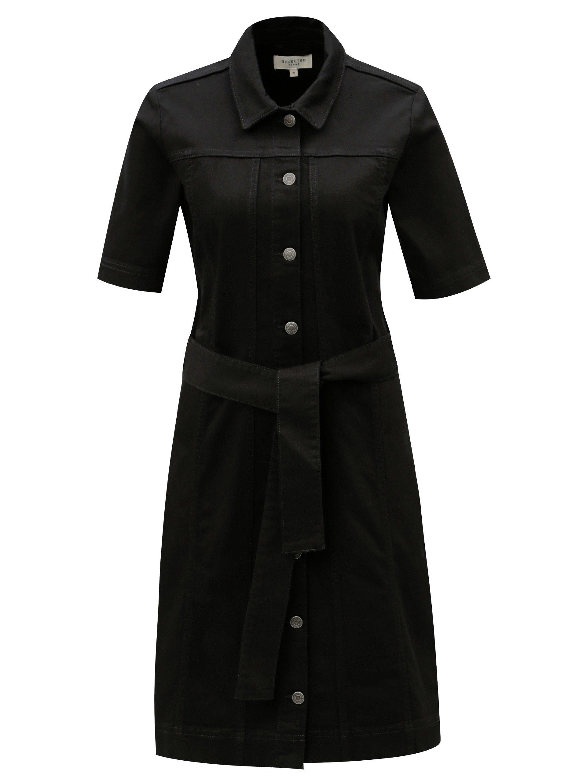 f22be92e4250 Čierne košeľové šaty s opaskom Selected Femme Cat