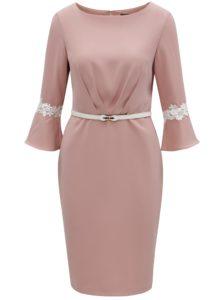 Ružové puzdrové šaty s opaskom Paper Dolls