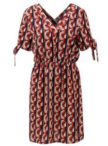 Červené vzorované šaty s uzlami na rukávoch Noisy May