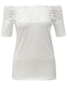 Biele tričko s čipkovým sedlom Jacqueline de Yong Domino
