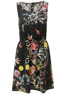 Čierne kvetované šaty s čipkou na chrbte ONLY Juliet