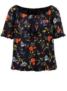 Tmavomodrá kvetovaná blúzka s odhalenými ramenami Dorothy Perkins Tall