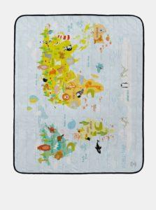 Svetlomodrá podložka na piknik s poltačou mapy a zvierat Butter Kings