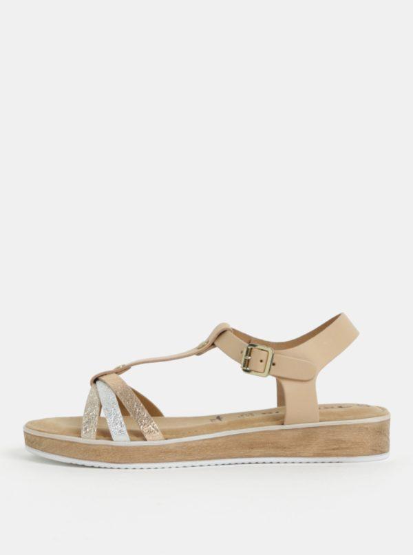 Béžové kožené sandálky s remienkami v striebornej a zlatej farbe Tamaris