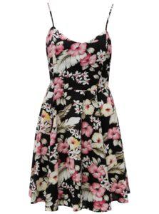 Bielo–čierne kvetované šaty s viazaním na chrbte Haily´s Victoria