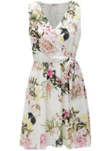 Biele kvetované šaty s prekladaným výstrihom Haily's Laura
