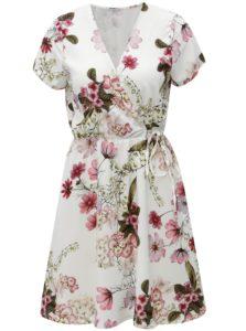 Biele kvetované šaty s prekladaným výstrihom a gumou v páse Haily´s Sina
