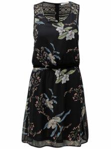 Čierne kvetované šaty s čipkou na chrbte Haily's Jana