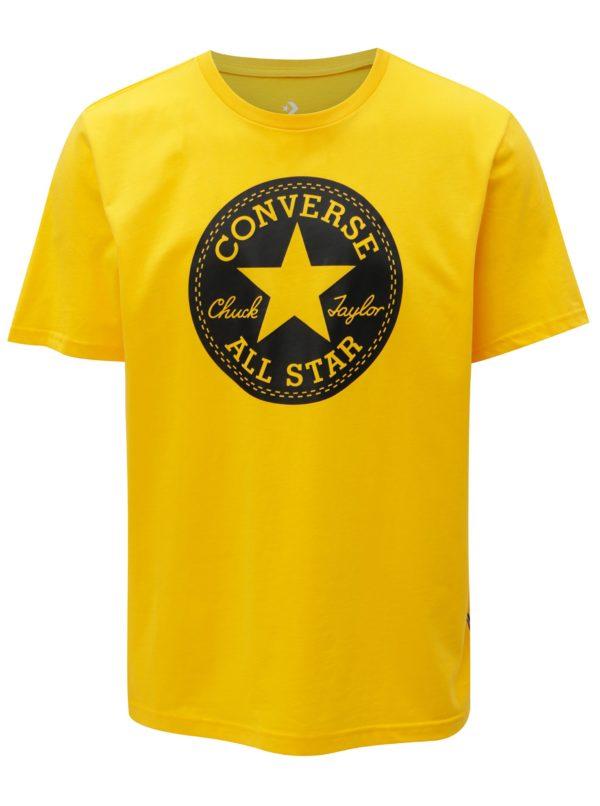 Žlté pánske tričko s potlačou Converse Chuck Patch