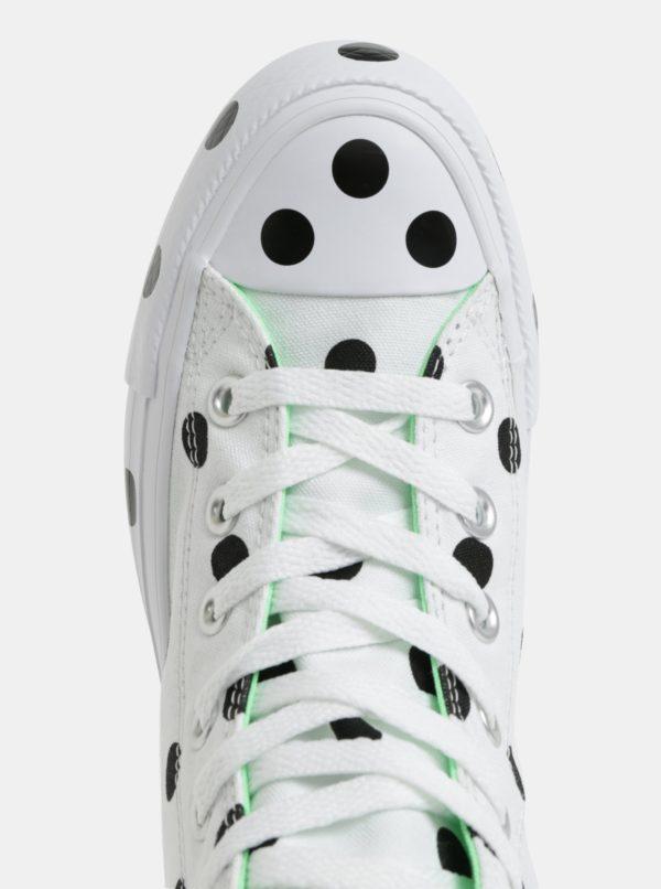 Čierno-biele dámske bodkované členkové tenisky Converse Chuck Taylor All Star