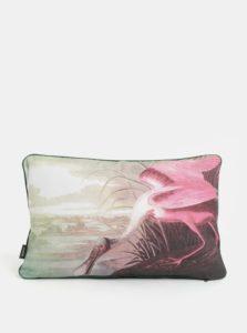 Bielo-ružový vankúš s potlačou Magpie Heron