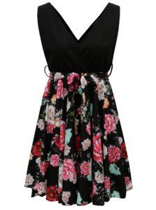 Čierne šaty s kvetovanou áčkovou sukňou Haily´s Janna