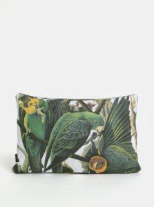 Bielo-zelený vankúš s motívom papagájov Magpie