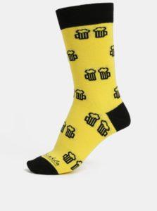 Žlté unisex ponožky s motívom piva Fusakle Na zdravie