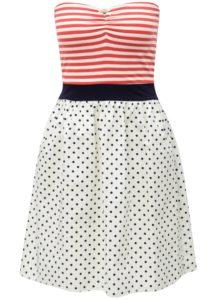 Modro-krémové vzorované šaty bez ramienok Haily´s Lotty