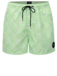 Krémovo-zelené vzorované pánske plavky Quiksilver