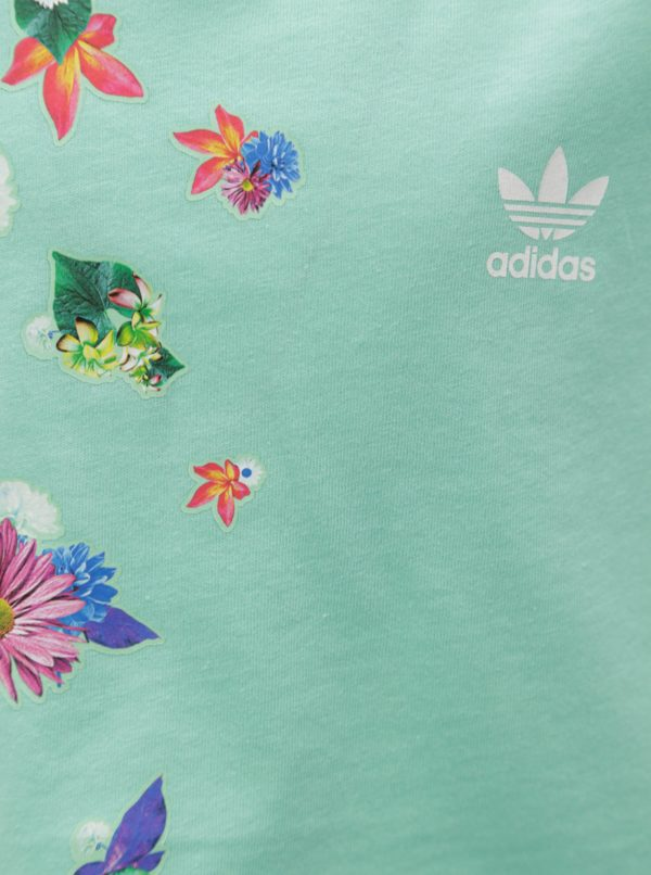Zelený dievčenský oversize crop top s potlačou adidas Originals Cropped