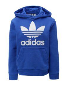 Modrá chlapčenská mikina s kapucňou a klokaním vreckom adidas Originals Trefoil