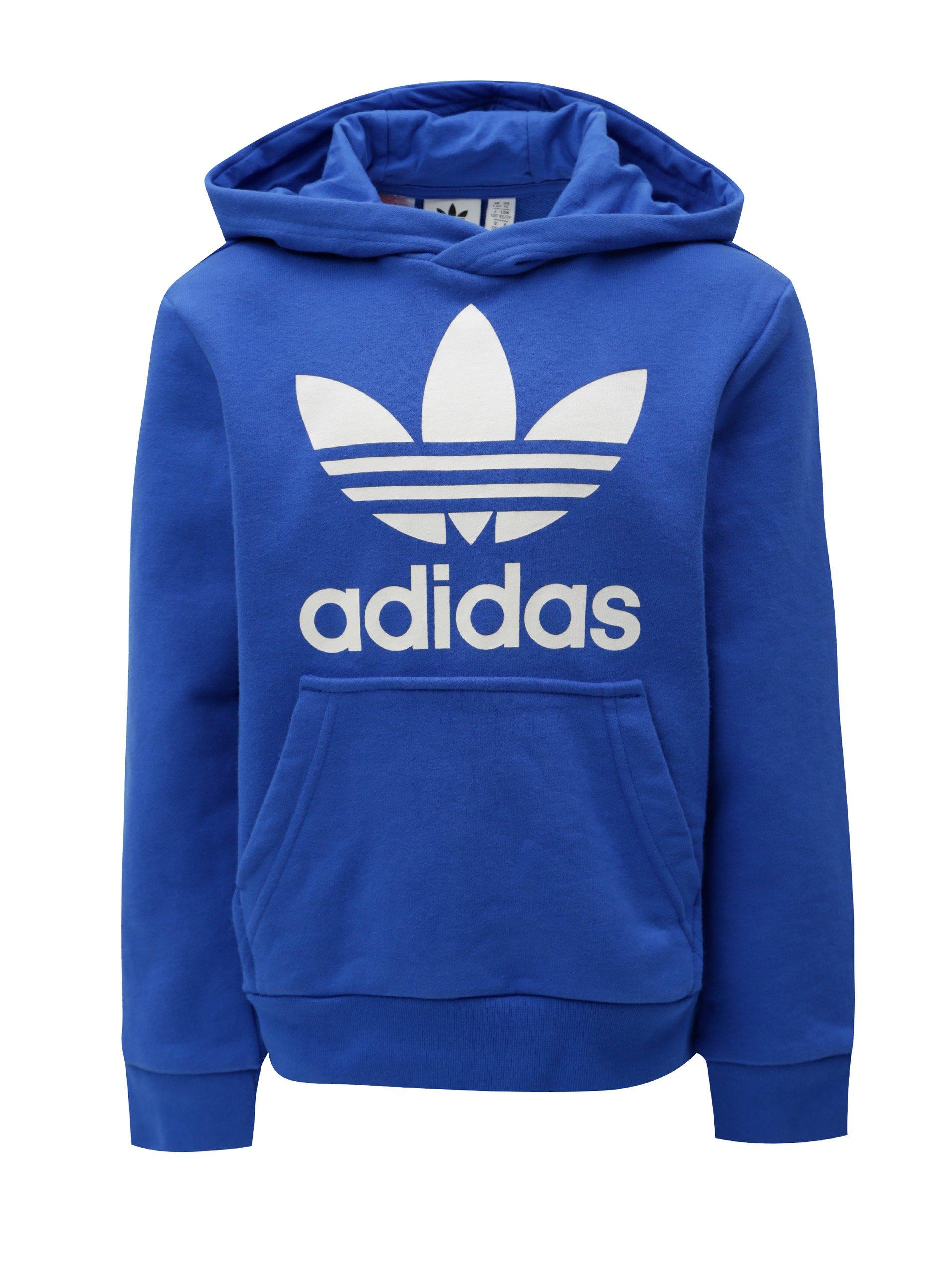 45227aceb Modrá chlapčenská mikina s kapucňou a klokaním vreckom adidas Originals  Trefoil
