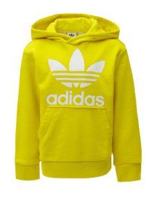 Žltá chlapčenská mikina s kapucňou a klokaním vreckom adidas Originals Trefoil