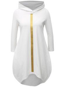 Biele balónové šaty s potlačou a kapucňou