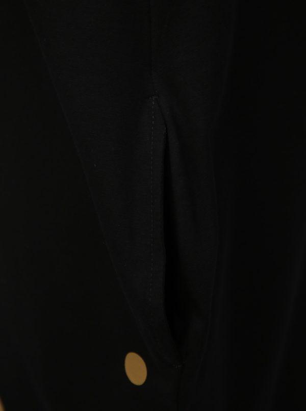 Čierne balónové šaty s potlačou bodiek v zlatej farbe Mikela da Luka