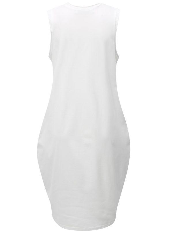 Biele balónové šaty s potlačou kruhu Mikela da Luka