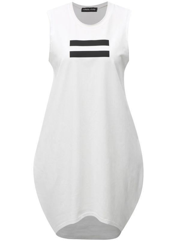 Biele balónové šaty s čiernou poltačou Mikela de Luka