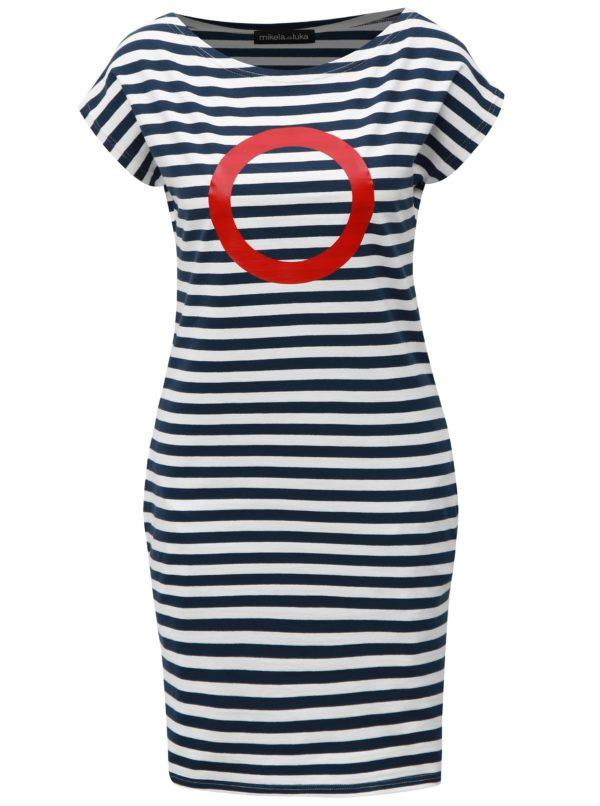 Modro-biele pruhované šaty s červenou poltačou Mikela da Luka