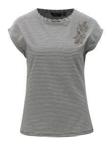 Čierno-biele pruhované tričko s korálkovou aplikáciou Dorothy Perkins