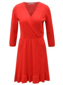 Červené svetrové šaty s prekladaným výstrihom ONLY Elsa