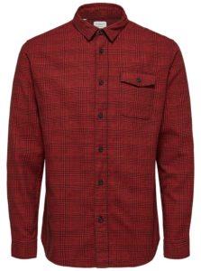 Čierno-červená kockovaná regular fit košeľa Selected Regval demar