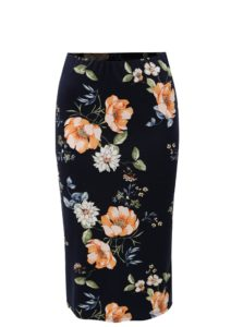 Tmavomodrá kvetovaná puzdrová sukňa Dorothy Perkins