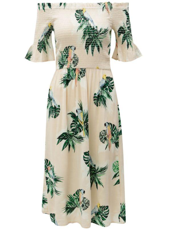 Béžové vzorované šaty s odhalenými ramenami Dorothy Perkins