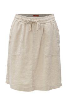 Béžová ľanová sukňa s vreckami s.Oliver