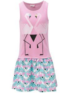 680ca1e00 Modro-ružové dievčenské šaty s motívom plameniakov tuc tuc Combined Braces