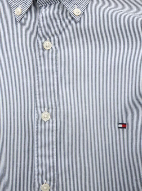 7866a25a85c4 Bielo-modrá pánska slim fit pruhovaná košeľa Tommy Hilfiger