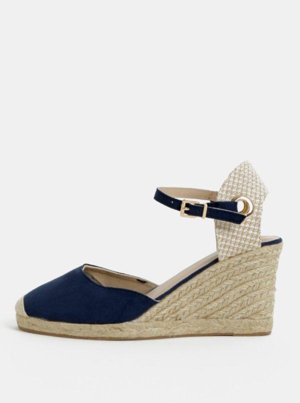 Béžovo-modré sandále na klinovom podpätku Dorothy Perkins