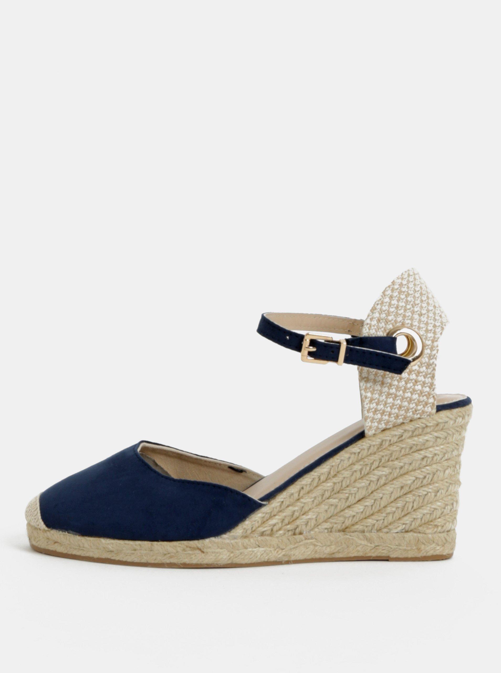 324d7a9bdfec Béžovo-modré sandále na klinovom podpätku Dorothy Perkins