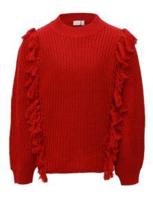 Červený dievčenský sveter so strapcami name it Louise
