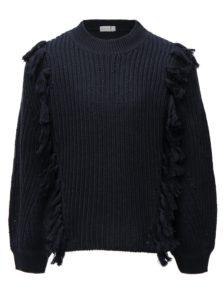 Tmavomodrý dievčenský sveter so strapcami name it Louise
