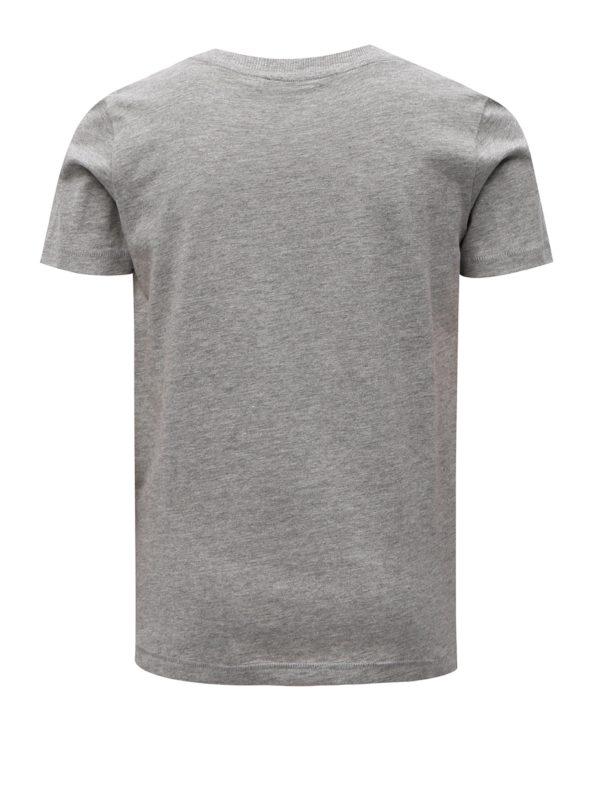 Sivé chlapčenské melírované tričko s potlačou LIMITED by name it Mlui
