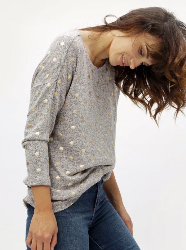 Ružovosivý melírovaný tenký sveter s bodkami ONLY