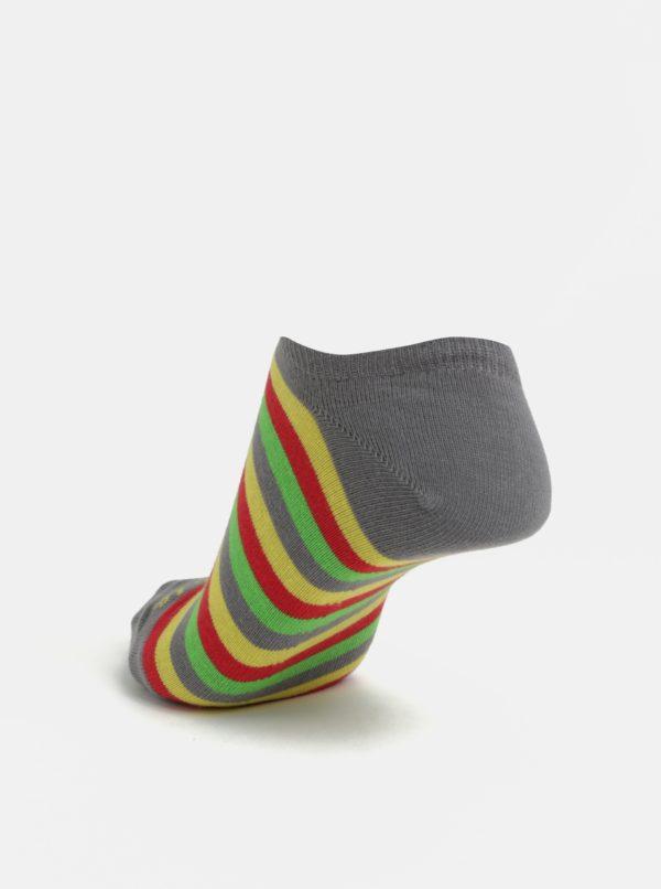 Žlto-sivé unisex členkové ponožky Fusakle Dúha v lete