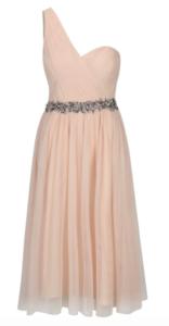 Pudrové šaty zdôrazňujúce pás kamienkami