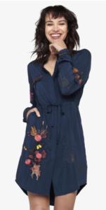 Voľnočasové košelové šaty s vyzdobenými vreckami
