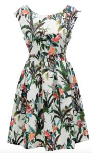 Áčkové šaty s tropickou potlačou