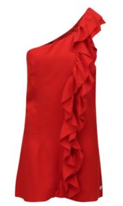 Krátke šaty na jedno rameno s volánovou aplikáciou