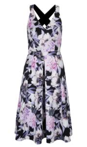 kvetované šaty s prekríženými ramienkami vzadu